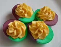 Happier Than A Pig In Mud: Mardi Gras Dyed Deviled Eggs