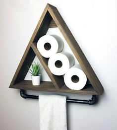 Triangle Bathroom Shelf with Industrial Farmhouse Towel Bar, Geometric Country Rustic Storage, Modern Farmhouse, Apartment Dorm Decor -  - #DiyHomeDecor