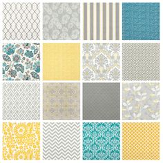 Oh wow, these fabric designs are pretty awesome! Lovin' that white and gray stripey one with hints of yellow...and the purtty yellow one in the bottom corner.