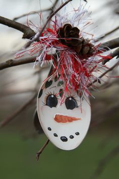 Snowman Spoon Ornament by MeltYourHeartSnowmen on Etsy, $5.00