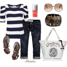 ~Bleste Blue Stripe~, created by mels777 on Polyvore