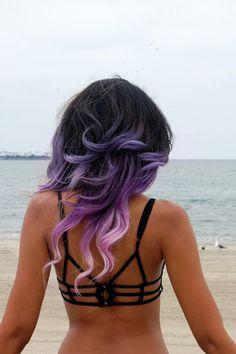 Purple pastel dip dyed hair