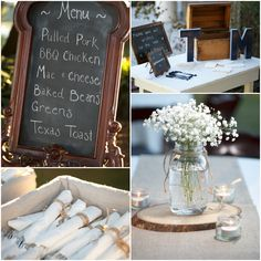 Country wedding menu and flowers