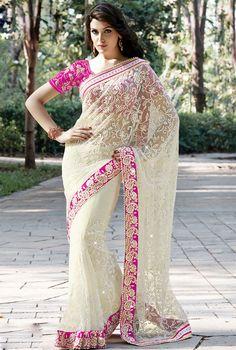 Charismatic Cream Embroidered #Saree