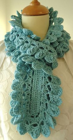 swishy scarf   love the aqua color and the pattern crochet scarf