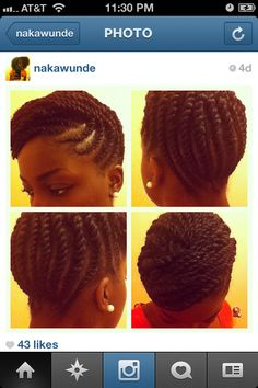 Natural hair style.  Flat twist updo