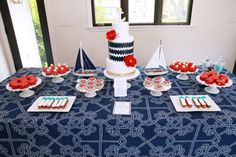 nautical baby shower dessert bar