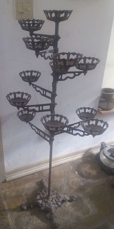 Wrought Iron 7 Tier Ornament Christmas Tree Holiday