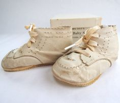 1950s Vintage Mrs Days Ideal Baby Shoes Leather by FireflyRetro, etsy