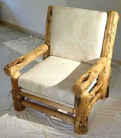 Photo of log chair which you can build yourself