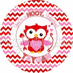 CUPID OWL Valentine favor tags  2 or 3 by PrettyPartyCreations, $6.25