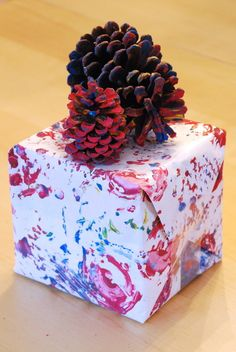 Homemade Pine Cone Print Wrapping Paper!