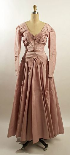 Pink silk taffeta evening dress, by Henri Bendel, American, 1941.