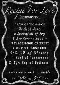 Recipe for Love Quote Wall Art