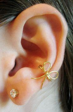 bow earring fashion, style, pierc, accessori, ears, ear cuffs, bows, jewelri, earrings