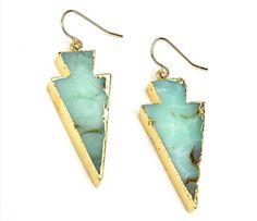 Turqoise Stone Arrowhead Drops Earrings | #ustrendy www.ustrendy.com