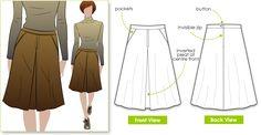 Style Arc Hepburn Riding Skirt - crisp pleat, topstitching details