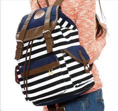 Ushoppingcart Unisex Fashionable Canvas Backpack School Bag Super Cute Stripe School College Laptop Bag for Teens Girls Boys Students (Black) Ushoppingcart  $12.23