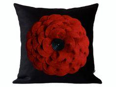 Large Red Felt Flower DESIGNER PILLOW COVER  by JillianReneDecor, $74.00