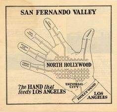 Illustration depicting the San Fernando Valley's importance to greater Los Angeles from a brochure of statistics about the Valley and North Hollywood compiled by the North Hollywood Chamber of Commerce, circa 1920s. In 1929, the name of the neighborhood of Zelzah was changed to Northridge. In 1931, Owensmouth was changed to Canoga Park. San Fernando Valley Historical Society. San Fernando Valley History Digital Library.
