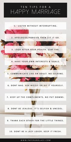10 tips for a happy marriage