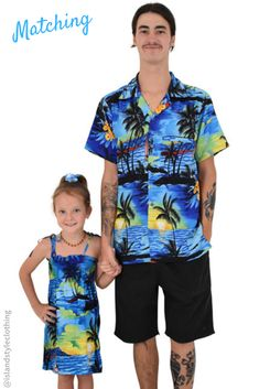 Blue Sunset Tropical Set - Father & Daughter Matching Party Clothing. Mens Hawaiian Shirt & Girls Beach Cover up. #sunsetparty #matchymatchy #hawaiianshirt #girlsbeachcoverup #partyshirt #fatherdaughtermatching #luau #luauparty #beachparty #fancydress #vacay #hawaiianmatching #familymatching #cruise #cruisewear #poncho #caftan #kaftan #coverup #beachwear