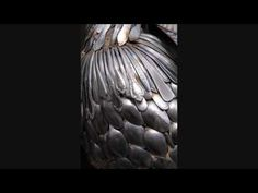 John Lopez Sculptures / welded silverware peacock  GORGEOUS!