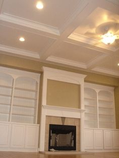 Coffered ceiling and built-in bookcase @ DIY House Remodel