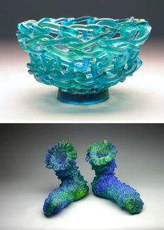 Knitted Glass by Carol Milne. Interesting process. Wax threads are knitted, turned into a mould and then cast in glass. Pity you can't actually knit glass.