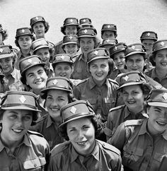 Personnel of the Canadian Women's Army Corps at No. 3 CWAC (Basic) Training Centre, Kitchener, Ontario, April 1944. #WW2 #1940s #vintage #Canada #homefront