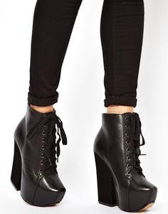 Shellys Komendova Black Platform Heeled Ankle Boots $194.07