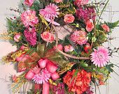 Colorful Pink and Tangerine Wreath on Etsy!  Soooo Pretty $159.97