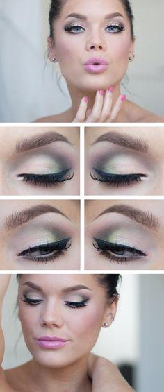 light green, light makeup for green eyes, makeup eyes, linda hallberg, eye makeup, pastel pink, pink lips, daily makeup, wedding makeup