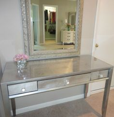 Thrift store desk makeover (using spray paint and silver leaf!). #diy