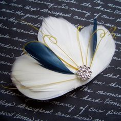 MILA STARRY NIGHT - Navy and Yellow Custom Color Bridal Clip