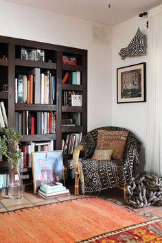 dark wood built-in bookshelves