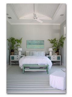 A perfectly coastal bedroom! benches, beds, color, beach hous, plants, bedrooms, guest rooms, coastal bedroom, design