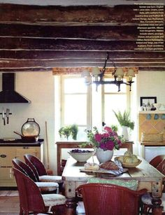 Kathy Ireland design - love, love the rustic table & kitchen.