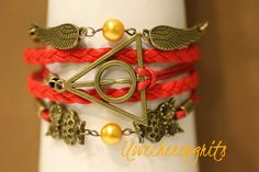 Deathly Hallows Handmade Bracelet Red Leather by ilovecheesygrits, $9.95