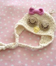 sleepy owl baby hat