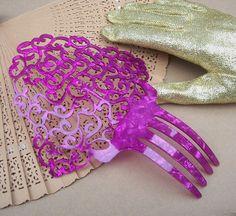 Vintage hair comb,  Spanish dance flamenco mantilla style hair accessory (C). $25.00, via Etsy.