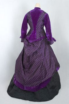 Silk ball gown with additional day bodice, c.1867