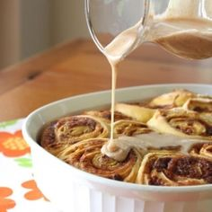 Pumpkin Cinnamon Rolls with Pumpkin Spice Glaze.  Easy recipe to make and unbelievable aroma and flavor.  I'm so ready for fall!