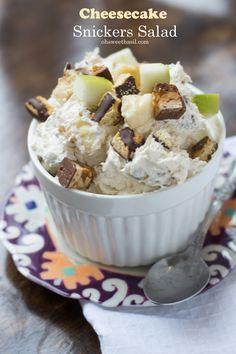 An even better version of snickers salad, Cheesecake Snickers salad!!  ohsweetbasil