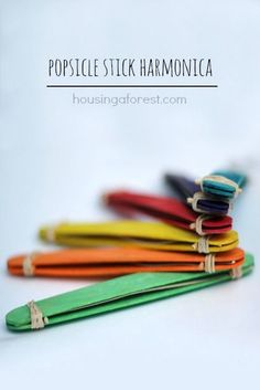H is for Popsicle stick Harmonica ~ simple DIY musical instrument your kids can make kids diy musical instruments, simple diy, diy music crafts, music kids crafts, diy kids instruments, diy music instruments, music instruments diy, music crafts kids, diy popsicle stick crafts