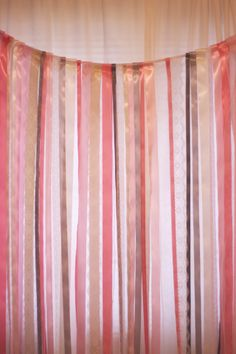 DIY Ribbon Photo Booth Backdrop. This would be cheaper with crepe paper.