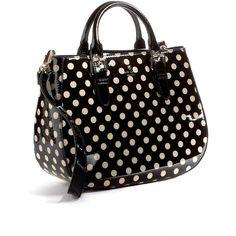 Kate Spade New York Carlisle Street Sylvie Polka Dot Patent Leather Satchel Bag ($348) found on Polyvore