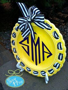 navy and yellow diamond monogram