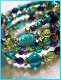 Bridesmaid Memory Wire Bracelet with Teal Purple Lime Glass Bead and Silver Accents Prom Bracelet Bridesmaid Bracelet spring time Easter  on Etsy, $25.00