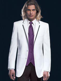White tux with purple vest